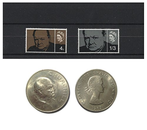 Stamps and Coins for Collectors - 1965 Winston Churchill Commemorative MNH and UNC stamp and coin set / Great Britain SG661 - 661A (Commemorative Coin Churchill)
