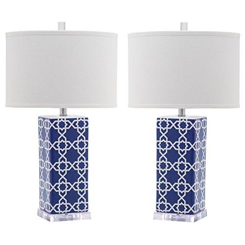 Safavieh Lighting Collection Quatrefoil Navy 27-inch Table Lamp (Set of 2)