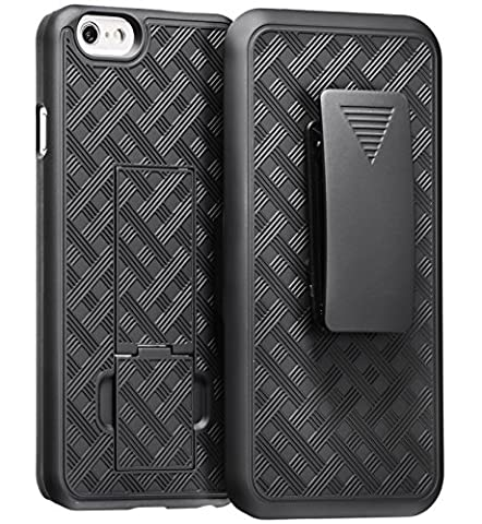 iPhone 6 Plus with Holster, WizGear Shell Holster Combo Case for Apple iPhone 6 PLUS 5.5 Inch Screen with Kick-Stand & Belt Clip - Black (For iPhone 6 PLUS (Platinum Brand Iphone 6 Plus Case)