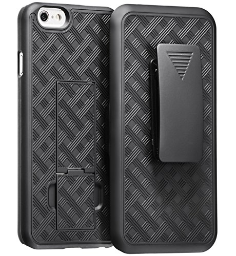 iPhone 6 Plus with Holster, WizGear Shell Holster Combo Case for Apple iPhone 6 PLUS 5.5 Inch Screen with Kick-Stand & Belt Clip - Black (For iPhone 6 PLUS (Authentic Loop Holster)
