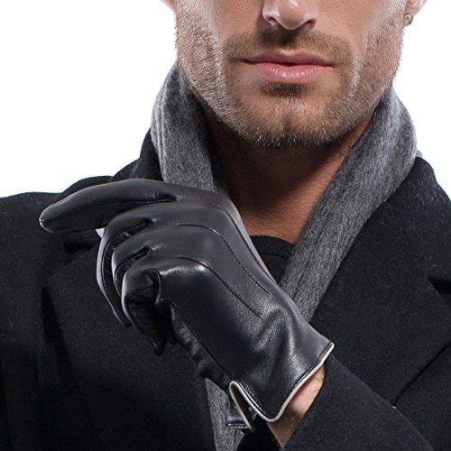 MATSU Men Winter Warm Touchscreen Texting Lambskin Driving Motorcycle Leather Gloves M1006(Cashmere/Long Fleece Lining)