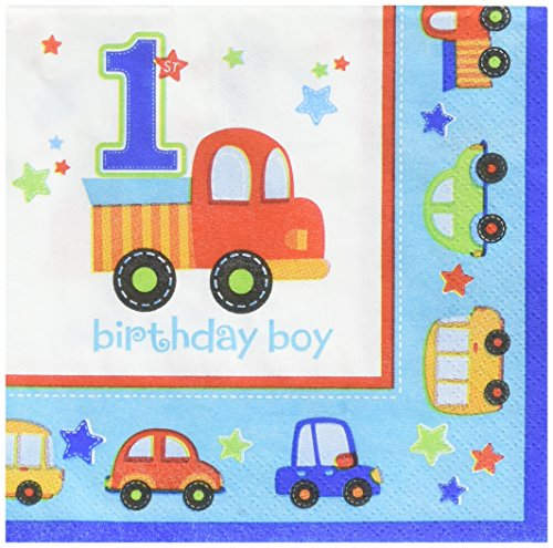 """amscan All Aboard! Birthday Beverage Napkins Multi Colored Paper 5"""" x 5"""" Folded 18-Piece Childrens Party Napkins"""