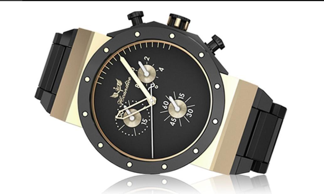 Hunpta Wristwatch For Men Herren Mode Edelstahlband Quarz Armbanduhr (Schwarz)