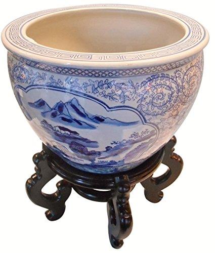 Oriental Furnishings Blue and White Porcelain Garden Pots Painted Landscape (12'' W x 9'' H/Inside Rim 9.25/Base 8.5)
