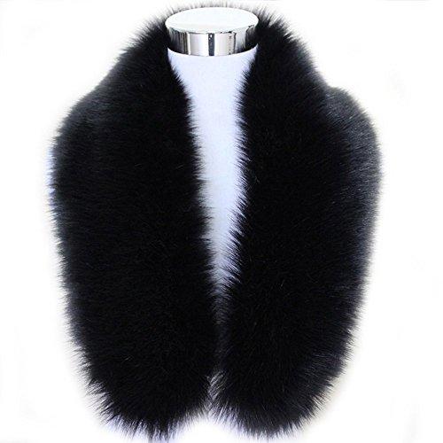 Shawl Collar Shrug (ZEAYEA Winter Warm Faux Fox Fur Collar Scarf Shawl Collar Women's Wrap Stole Scarves (Medium(80cm),)