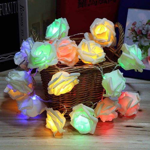 20LED Rose Flower Fairy Wedding Garden Party Xmas Decor Christmas String Lights Colorfull no.36