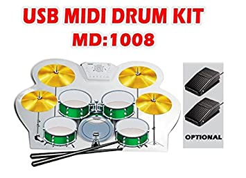 Amazon com : Free Shipping USB MIDI Roll-up Drum Kit Pads