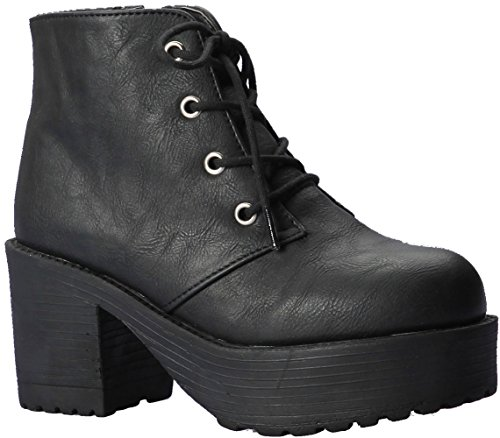 Paperplanes-1700 Fashion Lace-Up Cuban Heel Women Boots 1704-black rVCRvyZA