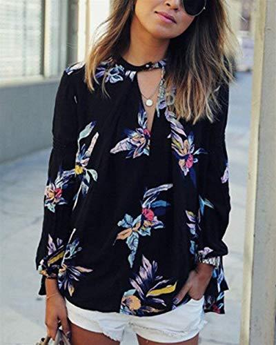 Blouse Vintage Casual Elgante Manches Haut Shirt Fille Automne Femme Motif Schwarz Longues V Printemps Branch Cou Large Tops Classique Fleur Chemise 7qYtZnSW