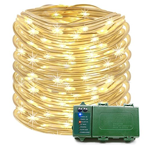 Konnoo Rope Lights 39 Ft 120 LED Battery Operated String Lights Waterproof Christmas Decorative Fairy Lights Outdoor Indoor Party Patio Garden Yard Holiday Wedding (Warm (39' Combination Kitchen)