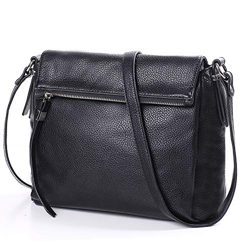 AMELIE GALANTI Crossbody Bags for Women, Fashion & Luxury Medium Purses and Handbags PU Leather Flap with Adjustable Strap Black