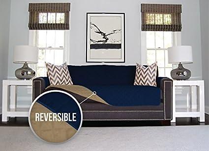 The Original SOFA SHIELD Reversible Furniture Protector, Features Elastic Strap (Loveseat: Navy/Sand)