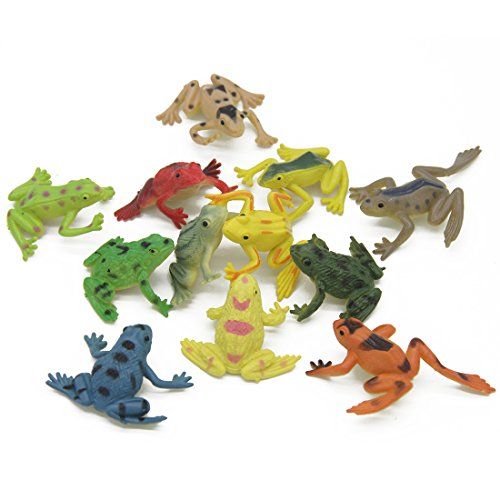 Kvvdi 12 Pcs 1.4 Inch Small Colorful Plastic Poison Dart Frogs for (Poison Arrow Dart Frog)