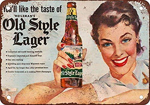 - TEcell Heileman's Old Style Lager Vintage Wall Decor Metal Tin Sign 12X16 Inches