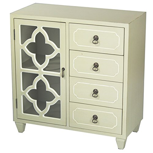 Heather Ann Creations 4 Drawer Wooden Accent Chest and Cabinet, Clover Pattern Grille with Glass Backing, 30.75