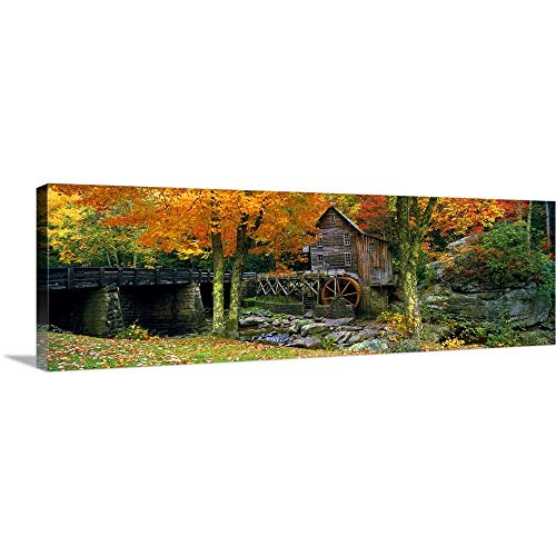 """Canvas on Demand Premium Thick-Wrap Canvas Wall Art Print entitled Power station in a forest, Glade Creek Grist Mill, Babcock State Park, West Virginia 36""""x12"""""""