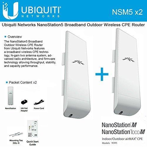 Ubiquiti NSM5 Bundle of 2 NanoStation M5 5GHz Outdoor airMAX CPE 150+Mbps 15+km by Ubiquiti Networks