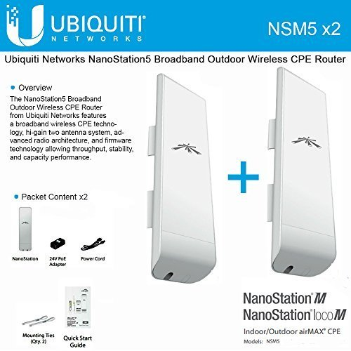 Ubiquiti NSM5 Bundle of 2 NanoStation M5 5GHz Outdoor airMAX CPE 150+Mbps 15+km by Ubiquiti Networks