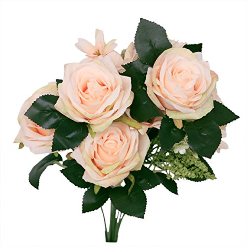 Mandy's Silk Flower Artificial Flower 17.7 Rolling Rose 9 Stems for Wedding Bouquet Home Kitchen Office (Champagne)