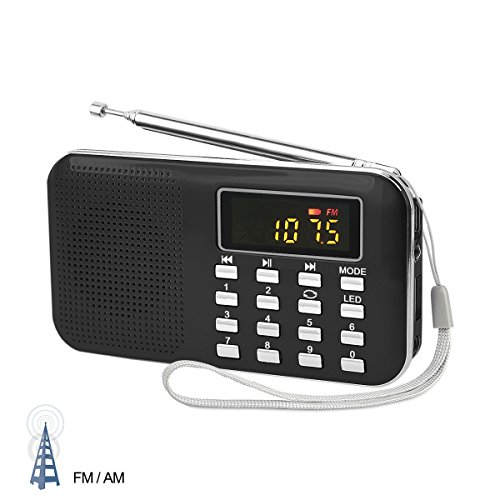 LEFON Mini Digital AM FM Radio Media Speaker with MP3 Music Player Support TF Card / USB Disk and LED Screen Display, Emergency Flashlight Function (Upgraded Version), Black (Radio Rechargeable)