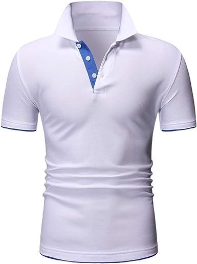 Camiseta de hombre de verano camisa cuello redondo Polo Tee Moda Baisc Camiseta de manga corta con divertido estampado letras camisetas Casual camisa negra Top de algodón Splicing camisas deportivas Bianco XL: