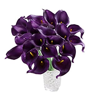 Houda Calla Lily Bridal Wedding Artificial Fake Flowers Party Decor Bouquet PU Real Touch Flower 10PCS (Purple) 42