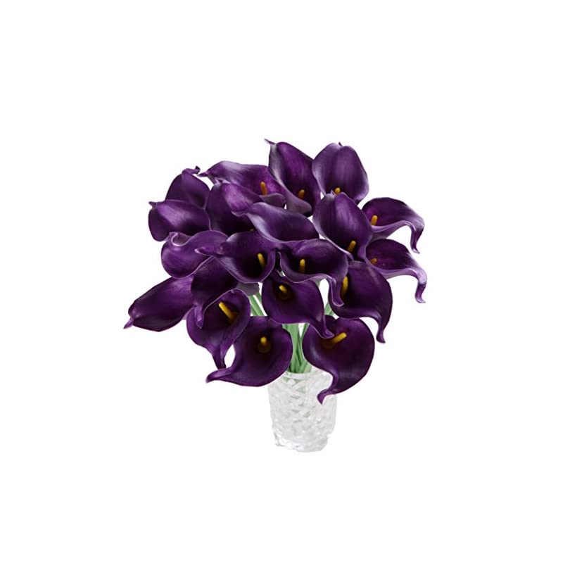 silk flower arrangements houda calla lily bridal wedding artificial fake flowers party decor bouquet pu real touch flower 10pcs (purple)