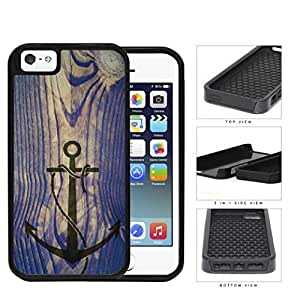 Ship Anchor Watermark On Vintage Wood 2-Piece Dual Layer High Impact Rubber Silicone Cell Phone Case Apple iPhone 5 5s