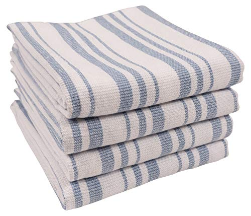 - KAF Home York Casserole Stripe Reversible Terry Cloth Kitchen Towels | Set of 4 100% Cotton Absorbent and Function Kitchen Utility Towels - Faded Denim