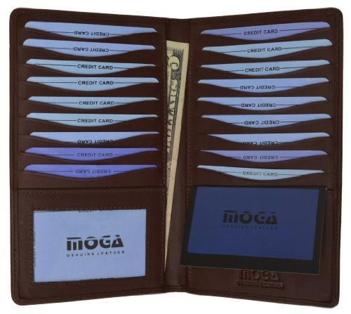 Leather MOGA Wallet w/ Credit Card Holder Brown #91529