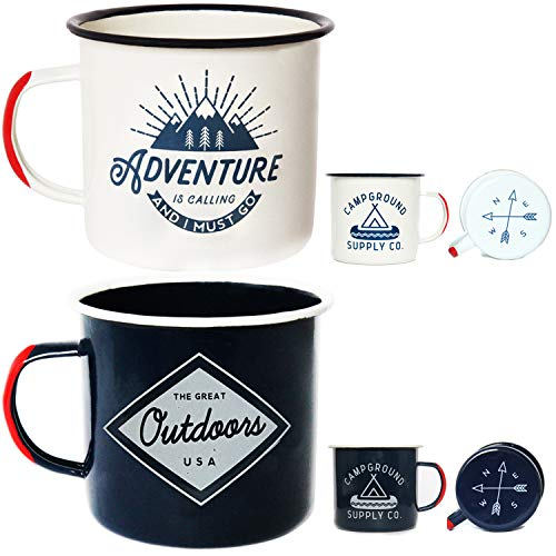 Adventure Enamel Camping Mug - 2 Pack LARGE 16oz of Love, Morning Coffee Mug - (455ml) Tin Cup Campfire Mug For Outdoors, Breakfast Wanderlust Travel Cup For The Happy Camper! by Campground Supply Co.