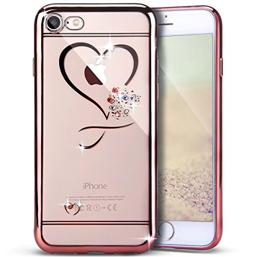 PHEZEN iPhone 7 Case, Clear Soft TPU Protective Case Back Cover with Mini Love Heart Bling Crystal Rhinestone Diamonds Plating Rose Gold Frame Silicone Gel Back Case for iPhone 7, Love Heart -