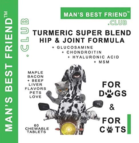 Man's Best Friend Club Turmeric Super Blend - Hip & Joint Formula - with Glucosamine, Chondroitin, Hyaluronic Acid & MSM - for Dogs and for Cats - Maple Bacon + Beef Liver Flavors Pets Love - from