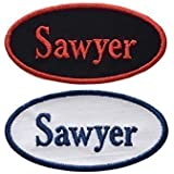 """Name Patch - Custom Embroided Name Tag Iron On Patch - OVAL-4""""x2"""" - Iron On Or Sew On-With Your Name - Choose Fabric And Thread Colors(1 Patch)"""