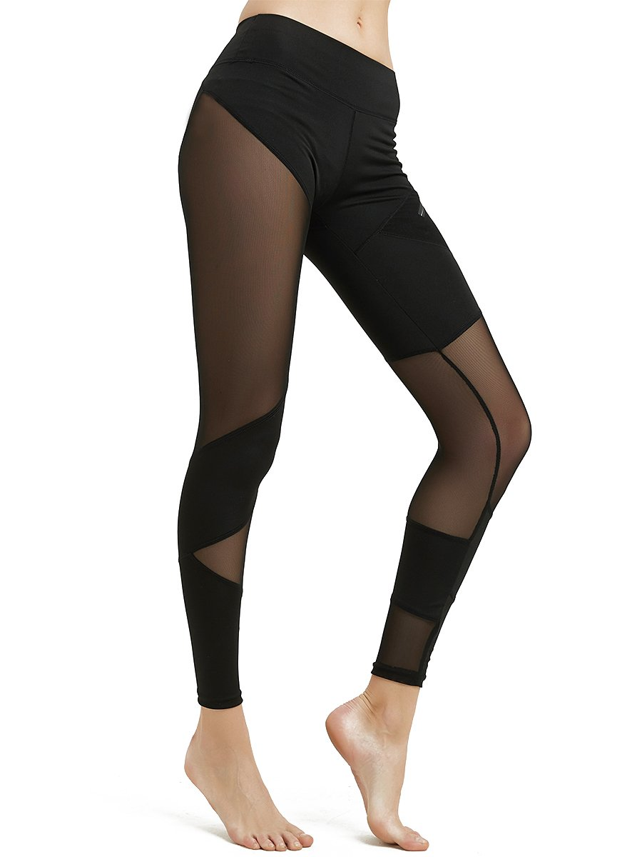 Women's Mesh Workout Yoga Leggings—MCEDAR Performance Premium Stretchy High Waist Active Tight Pants For Running, Casual, Sports(S, Black #4)