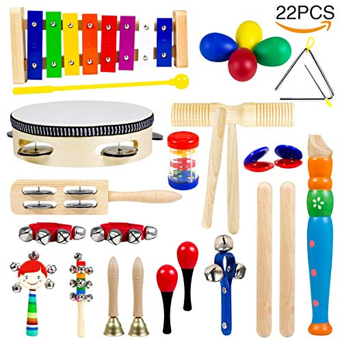 Toddler Musical Instruments, HOMEYARD 15 Types 22pcs Wooden Percussion Instruments Toy for Kids Preschool Educational, Musical Toys Set for Boys and Girls with Storage Backpack