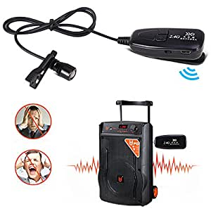 ocamo 2 4g wireless lavalier microphone with voice amplifier for teachers louder. Black Bedroom Furniture Sets. Home Design Ideas