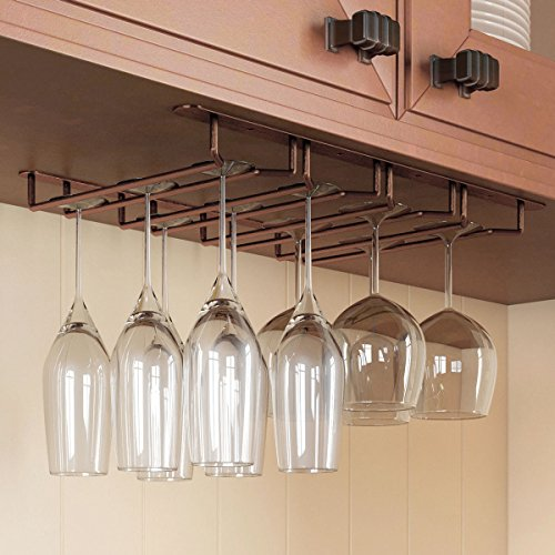 Rack and Hook Stemware Glass Rack Under Cabinet Wine Glass Hanger Storage for Bar or Kitchen Oil Rubbed Finish 1 Pack