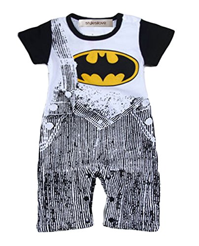 StylesILove Baby Boy Super Hero Jeans Print Costume Jumpsuit (12-18 Months, Black Batman)