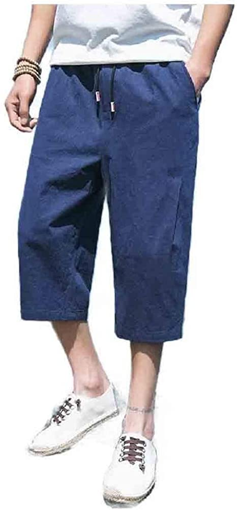 sayahe Mens Relaxed 3/4 Length Pants Cotton Linen Oversized Wide Leg Pants