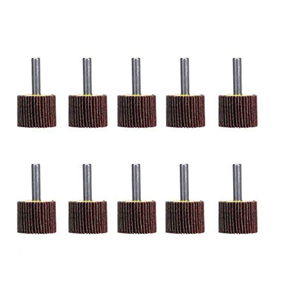 """Mounted Flap Wheels 1"""" x 1"""" with 1/4"""" Shank, 40 Grits Aluminum Oxide for Remove Rust and Weld Burr Fit for Most of Drill - 10 Pack SCOTTCHEN"""