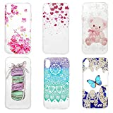 iPhone XR Case 6.1 inch, 6 Pcs Kawaii Crystal Clear Cute Cartoon Paintings Shockproof Soft TPU Bumper Shell Shock Absorption Ultra-Thin Slim Lightweight Rubber Silicone TPU Cover for iPhone XR