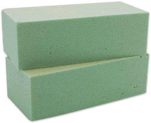 FloraCraft Floral Dry Foam 2 Piece Brick 2.6 Inch x 3.5 Inch x 7.8 Inch Green from FloraCraft