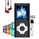 MP3 Player/MP4 Player, Hotechs MP3 Music Player with 16GB Memory SD card Slim Classic Digital LCD 1.82'' Screen MINI USB Port with FM...