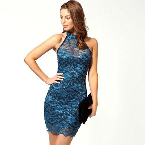 Bateau Lujoso Y Elegante Encaje corto vestido de fiesta (Un tamaño, Azul)