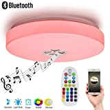 Autai Ceiling Light 24W RGB Color Changing Dimmable with Smart Bluetooth Speaker and Remote Controller for Living Room, Bedroom, Balcony