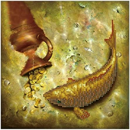 Yeefant Creative Gold Fish and Coins Pattern Embroidery Paintings No Fading 5D Canvas Rhinestone Pasted Pasted DIY Diamond Cross Stitch Home Wall Decor for Bedroom Living Room,12x12 Inch,MulticolorB