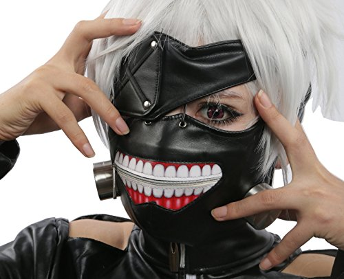 Ken Kaneki Mask with Wig Cosplay Props for Halloween Costume Black