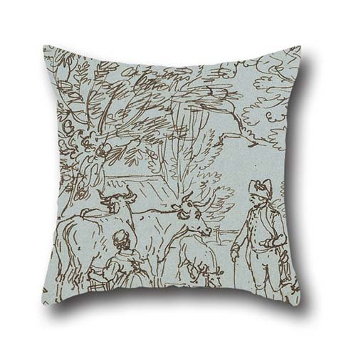 Oil Painting Paul Sandby - Landscape With A Milk Maid And A Beau Pillow Cases 16 X 16 Inches / 40 By 40 Cm Gift Or Decor For Kids Room,seat,lounge,outdoor,adults,festival - Twice Sides (Pillow Bella Boudoir)