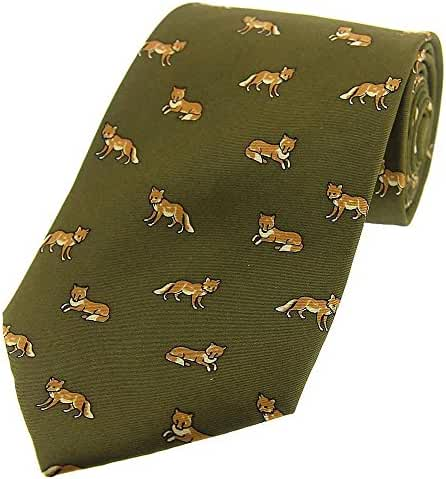 Country Green Foxes Country Silk Tie by David Van Hagen